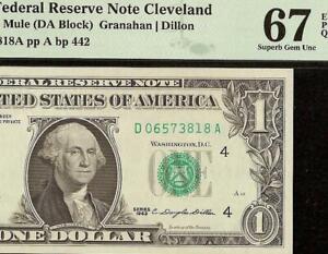 SUPERB GEM 1963 $1 DOLLAR BILL MULE FEDERAL RESERVE NOTE Fr 1900-Dm PMG 67 EPQ