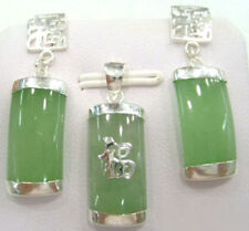Natural Light Green Jade 18KWGP Fortune Pendant Necklace Earrings Jewelry Set