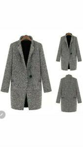 Women Wool Coat Trench Jacket Winter Warm Lapel Long Parka Overcoat Outwear XL