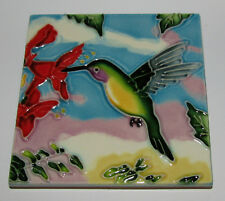 "Hummingbird Art Tile 4""x4"" Decorative Ceramic New Red Flower SD-HB"