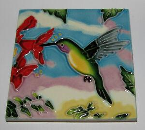"Hummingbird Art Tile 4""x4"" Decorative Ceramic New Red Flower SD-HB"
