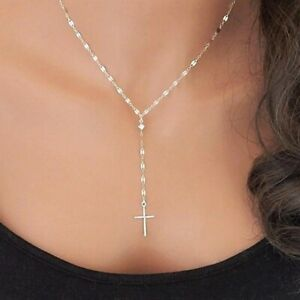 New Cross Pendant Necklace for Women Fashion Jewellery Gold/silver Chain