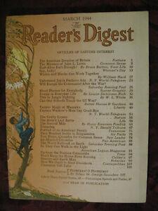 Reader's Digest March 1944 Bruce Barton Louise D. Rich John Steinbeck Ernie Pyle