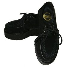 New Pleaser Demonia Gothic Punk Black Suede Creepers 402S Mens Size 8 Womens 10