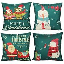 4 Throw Pillow Covers Cases Snowman Santa Xmas Christmas Cushion Holiday Decor