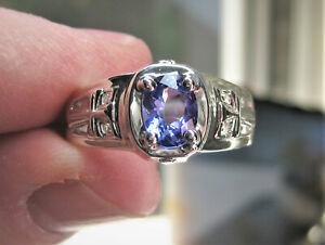 Men's Tanzanite Ring Genuine Earth Mined Tanzanite In Sterling Silver Sze 14