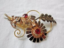 Vintage Van Dell Tri-Color 12K GF Red Rhinestone Wire Flower Brooch #035