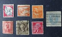 Y17, Sellos USA, Lot 7 stamp variados Estados Unidos Usados