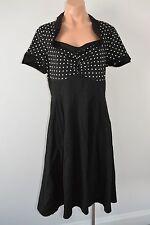 CHICSTAR Rockabilly Shift Dress Size 44 12 14 black white polkadot