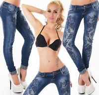 New Women Skinny Jeans Clubbing Ladies Embroidery Denim Trouser Size 8 10 12 14