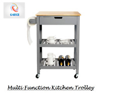 Grey Wooden 2 Tier Kitchen Trolley Cart Table Organiser Shelf Towel Rail Drawer