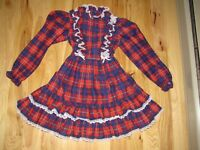 VTG SEARS WINNIE THE POOH PLAID LACE RUFFLES PARTY TWIRL DRESS GIRLS SIZE 8 KID
