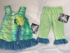 NWT Cachcach for Girls Blue Green Tye Dye Dot Pants Tunic Capri Outfit Set 3T