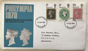 GB QEII 1970 Philympia POFDC Manchester HS Typed Address With Insert