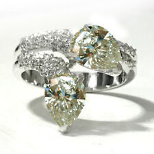 3.15ct VVS1;NEXT TO WHITE MOISANITE PEAR GORGEOUS WHITE .925 SILVER RING Size 7