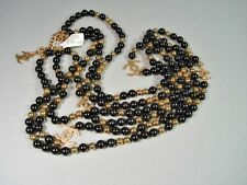 Chanel Black Gold Sky Mirror Beads CC Triple Strand Opera Long Necklace NEW