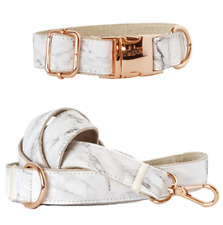 LUXURY Grey Marble Dog Collar & Leash Set Enchanted Pets Carrera Rose Gold M