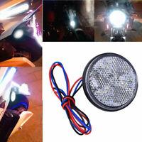 2x White Motorcycle Motorbike Round Reflector LED Tail Brake Stop Light Lamp