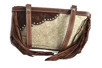 Western Genuine Leather Cowhide Fur Fringe Womens Crossbody Bag cowgirl shopper