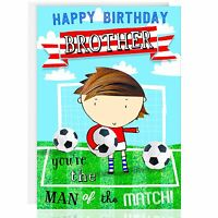 HAPPY BIRTHDAY BROTHER Greetings card - Male Football, Footie, Sport, Fun