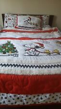 Pottery Barn Teen kids Peanuts Snoopy Holiday FULL QUEEN quilt sheet set sham