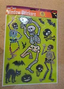A3 SHEET HOLOGRAPHIC Halloween Window Stickers SKELETON DESIGN
