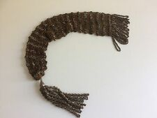 Antique Victorian Cut Steel Beaded Brown Knitted Misers Stocking Purse