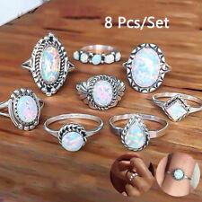 8Pcs/set Sliver Opal Finger Rings Set Vintage Punk Boho Knuckle Rings Jewelry