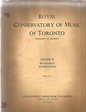 1953 Royal Conservatory Music U Of T Grade2 PIANOFORTE Examination 1st ed SCARCE