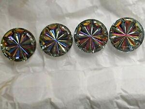 12 Big Vintage VITRAIL Multi Color Starburst 25 MM Round W German Rhinestones
