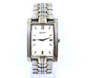 Men's Rectangular SEIKO Two Toned Stainless Steel Quartz Watch 7N00 5D98 5C40 R1