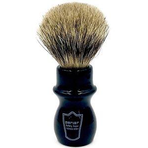 Black Handle Deluxe 100% Pure Badger Mug Shaving Brush from Parker Safety Razor