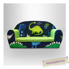 Dinosaurs Dino Kids Children's Double Foam Sofa Toddlers Seat Nursery Boys Green