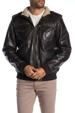 Levi's Faux Leather & Faux Shearling Bomber Jacket in Dark Brown Size Small