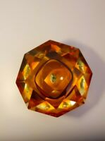 Rare Fish Mid-Century Faceted Diamond Murano Bowl Ashtray Flavio Poli Space Age