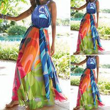 Damen Maxikleid Sommer kleid Strandkleid Lang Partykleid Cocktailkleid