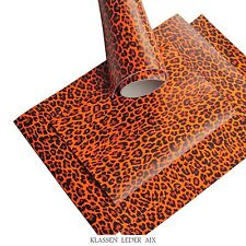 Büffelleder Neon Orange Leopard Design 2,3 mm Dick A3 Format Echt Rindsleder 41