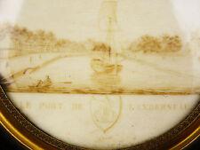 Travail en cheveux : Le port de landerneau BRETAGNE MARINE Armoiries héraldique