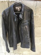 Mens Black Leather CONVERSE Cafe Racer Motorcycle Jacket M