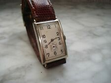 Montre Ancienne rectangulaire Homme Or Blanc 1930