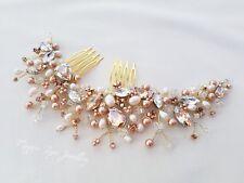 Rose Gold Bridal hair comb head piece slide vine clip jewellery Wedding bride UK