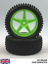 Front 5-Spoke Green Wheels & Full Spike Tyres 1/10th Buggy/Car RC *PRE GLUED*