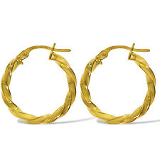 9CT YELLOW GOLD 20X2MM ROUND TWISTED TUBE CABLE HOOP  CREOLE EARRINGS GIFT BOX