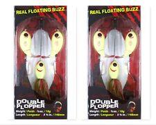 "(2) River2Sea 5 3/4"" Topwater 5/8 Oz Floating Buzz Double Plopper Bone Brand New"