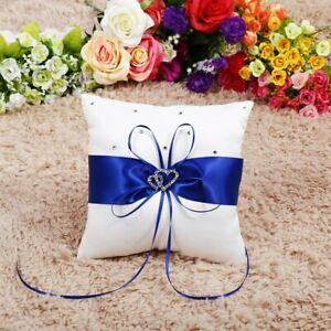 Wedding Bearer Holder Pillow Cushion With Bowknot Stain Double Hearts Di Sp