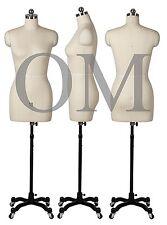Pinnable Female Mannequin Dress Form, W/ Heavy Duty Rolling Base, Size 10 (mt 10