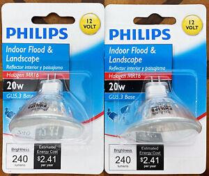 2 Philips Indoor Flood & Landscape 20w Halogen MR16 Light Bulbs GU5.3 Base