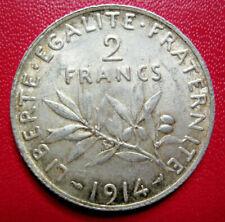 France. Belle 2 Francs semeuse 1914. Argent. SUP