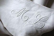 Linen sheet antique French 80x96 ML homespun slipcover upholstery fabric old