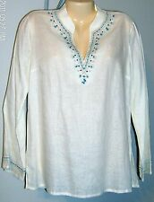 Rafaella Ivory Linen Embroidered Tunic 10 Beads Sequins